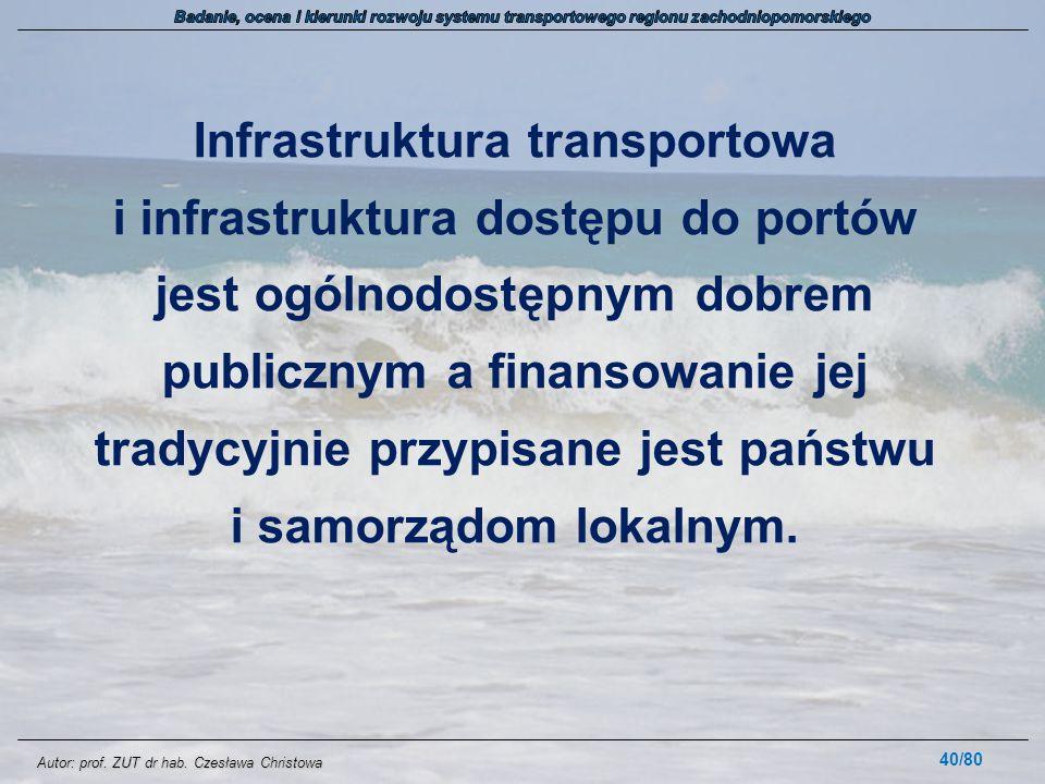 Autor: prof. ZUT dr hab. Czesława Christowa Infrastruktura transportowa i infrastruktura dostępu do portów jest ogólnodostępnym dobrem publicznym a fi