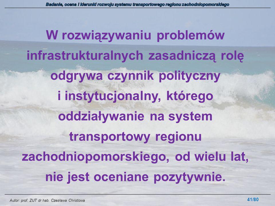 Autor: prof. ZUT dr hab. Czesława Christowa W rozwiązywaniu problemów infrastrukturalnych zasadniczą rolę odgrywa czynnik polityczny i instytucjonalny