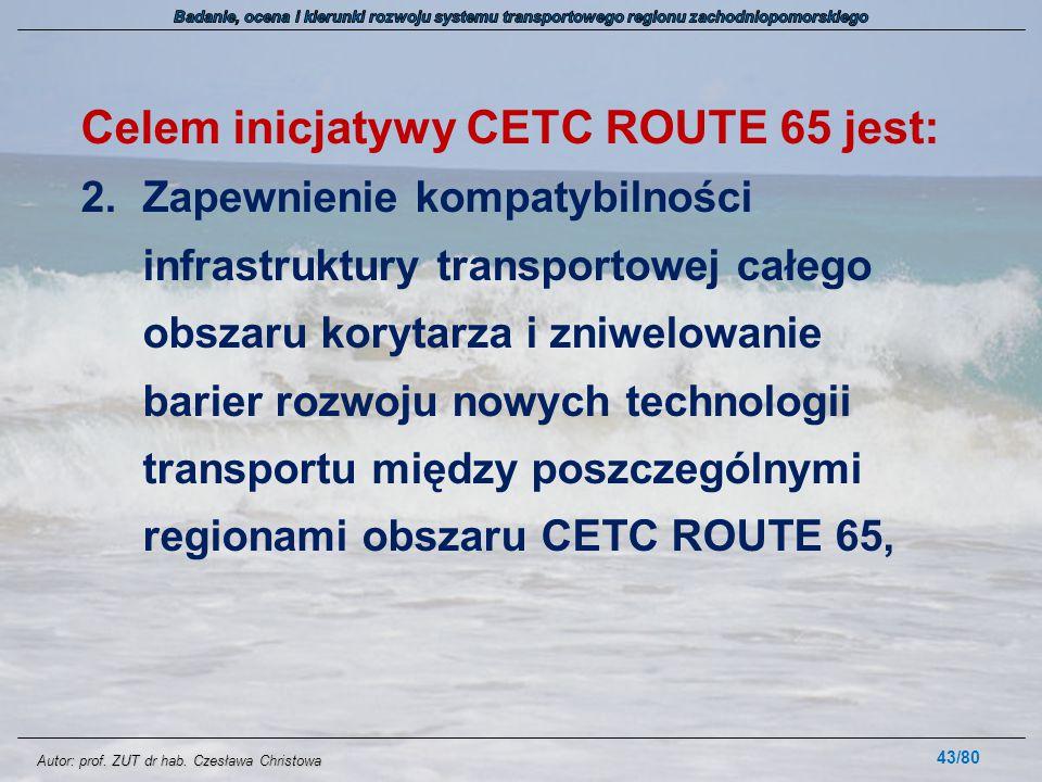 Autor: prof. ZUT dr hab. Czesława Christowa Celem inicjatywy CETC ROUTE 65 jest: 2.Zapewnienie kompatybilności infrastruktury transportowej całego obs
