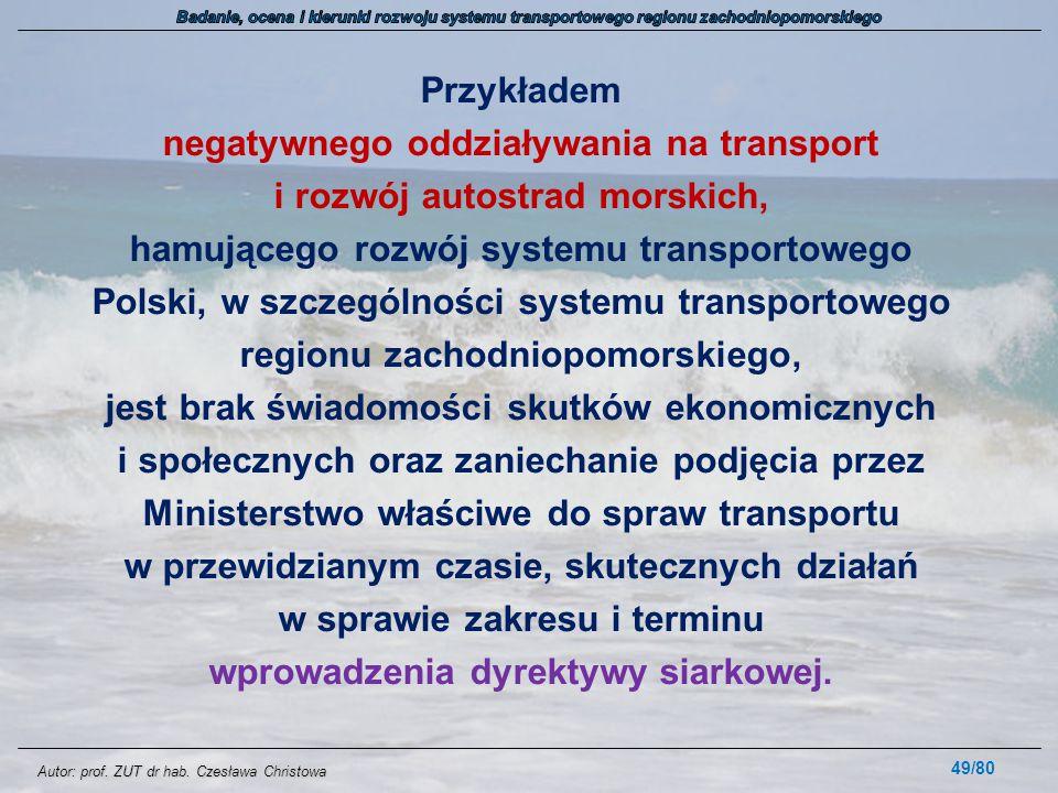 Autor: prof. ZUT dr hab. Czesława Christowa Przykładem negatywnego oddziaływania na transport i rozwój autostrad morskich, hamującego rozwój systemu t