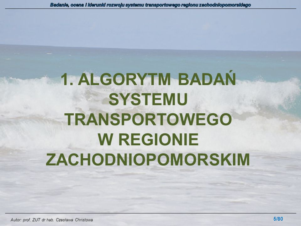 Autor: prof. ZUT dr hab. Czesława Christowa 1. ALGORYTM BADAŃ SYSTEMU TRANSPORTOWEGO W REGIONIE ZACHODNIOPOMORSKIM 5/80