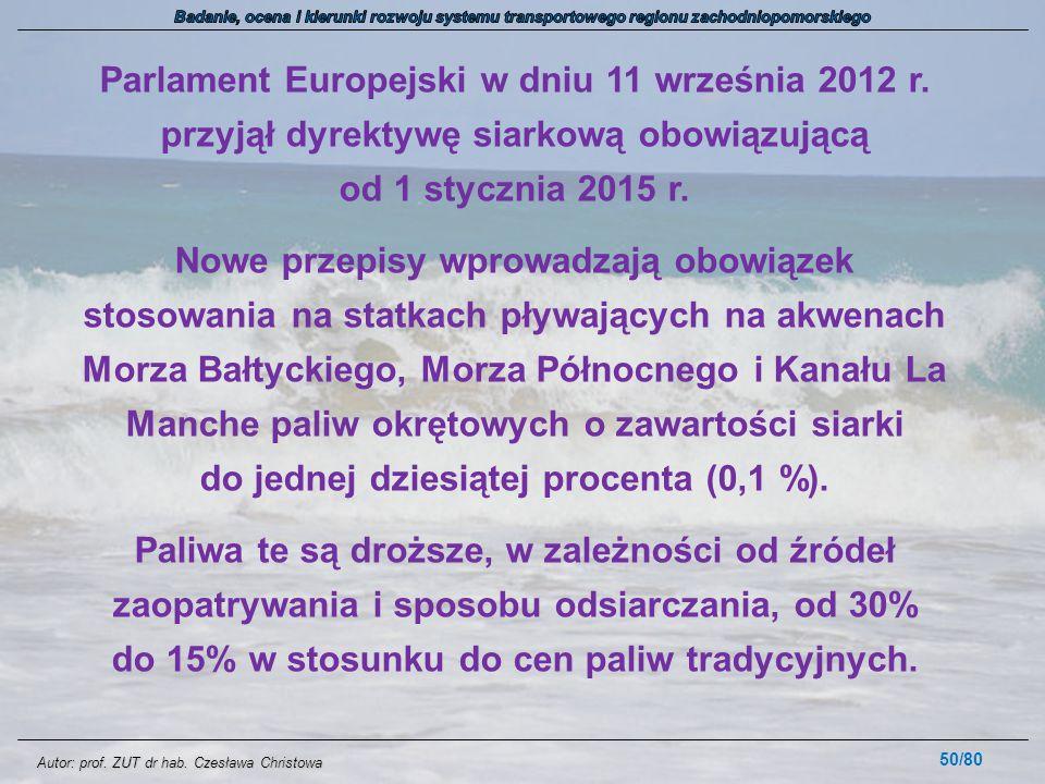 Autor: prof. ZUT dr hab. Czesława Christowa Parlament Europejski w dniu 11 września 2012 r. przyjął dyrektywę siarkową obowiązującą od 1 stycznia 2015