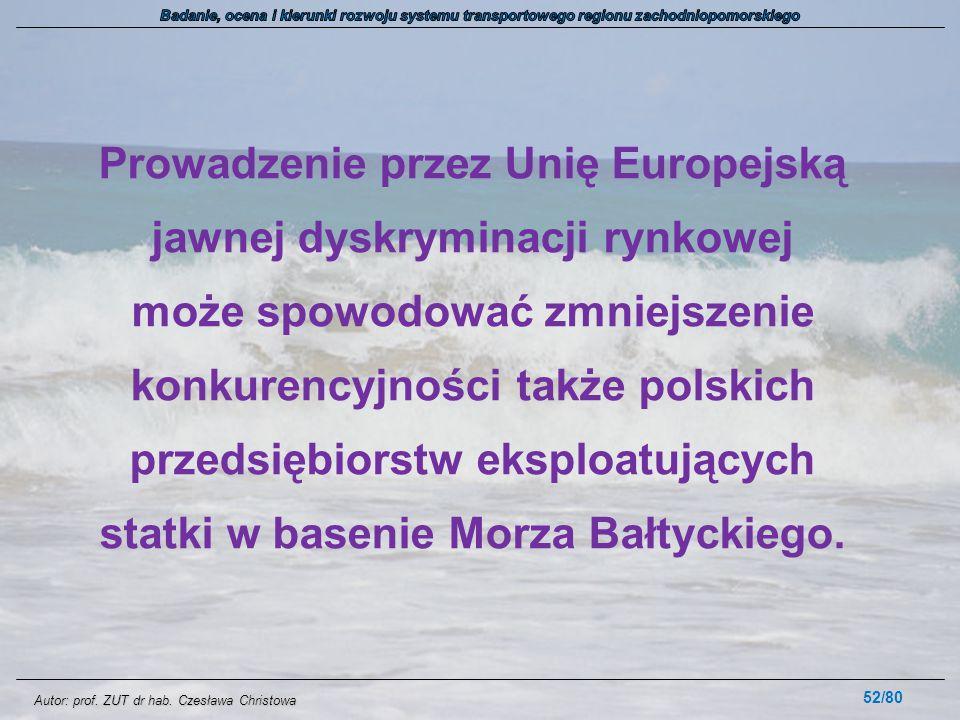Autor: prof. ZUT dr hab. Czesława Christowa Prowadzenie przez Unię Europejską jawnej dyskryminacji rynkowej może spowodować zmniejszenie konkurencyjno