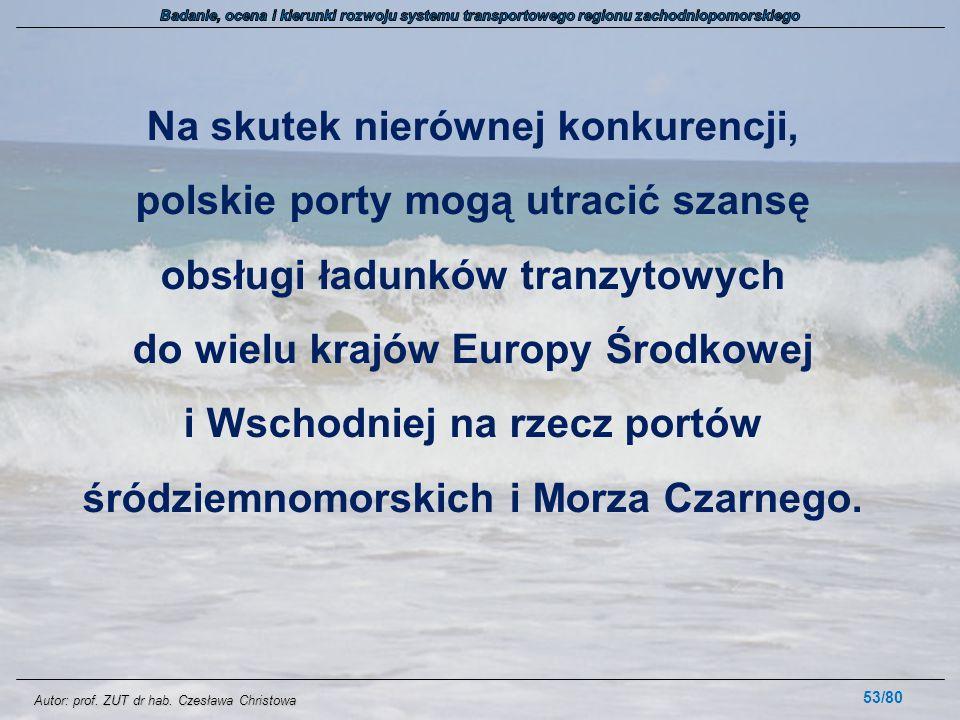 Autor: prof. ZUT dr hab. Czesława Christowa Na skutek nierównej konkurencji, polskie porty mogą utracić szansę obsługi ładunków tranzytowych do wielu