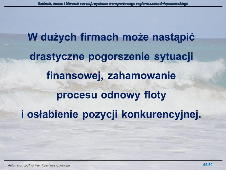Autor: prof. ZUT dr hab. Czesława Christowa W dużych firmach może nastąpić drastyczne pogorszenie sytuacji finansowej, zahamowanie procesu odnowy flot