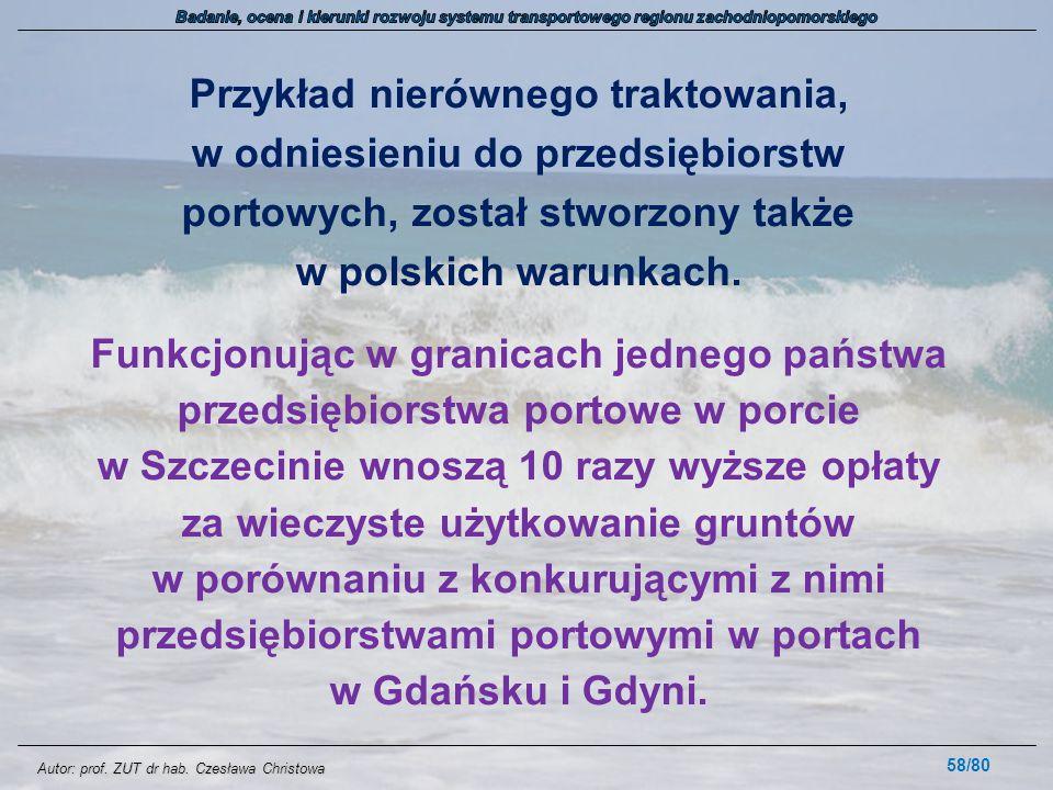 Autor: prof. ZUT dr hab. Czesława Christowa Przykład nierównego traktowania, w odniesieniu do przedsiębiorstw portowych, został stworzony także w pols