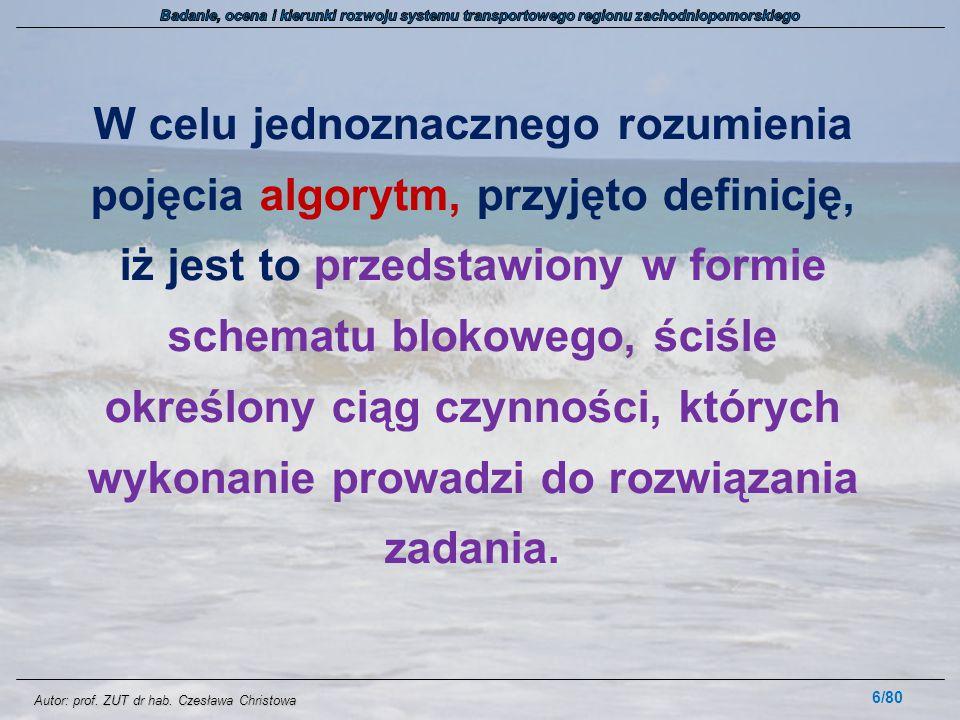 Autor: prof. ZUT dr hab. Czesława Christowa W celu jednoznacznego rozumienia pojęcia algorytm, przyjęto definicję, iż jest to przedstawiony w formie s