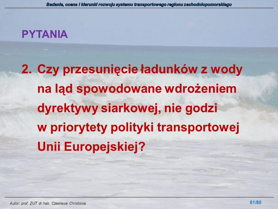 Autor: prof. ZUT dr hab. Czesława Christowa PYTANIA 2.Czy przesunięcie ładunków z wody na ląd spowodowane wdrożeniem dyrektywy siarkowej, nie godzi w