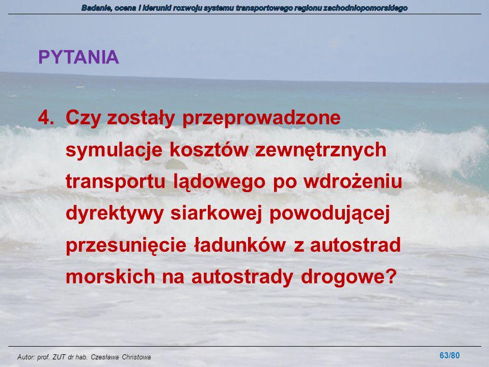 Autor: prof. ZUT dr hab. Czesława Christowa PYTANIA 4.Czy zostały przeprowadzone symulacje kosztów zewnętrznych transportu lądowego po wdrożeniu dyrek