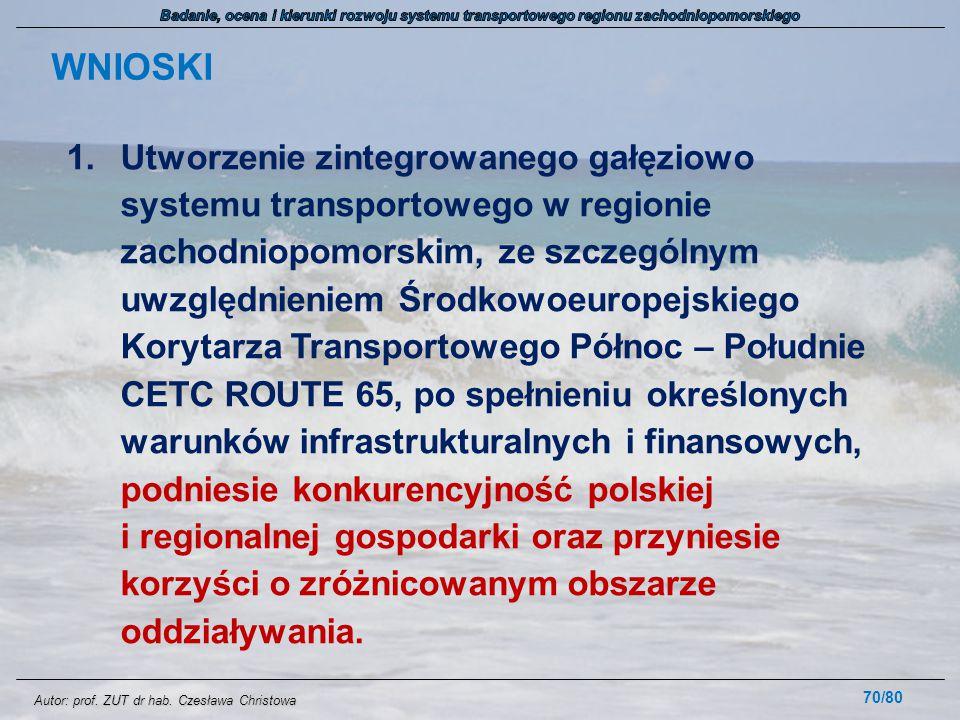 Autor: prof. ZUT dr hab. Czesława Christowa 1.Utworzenie zintegrowanego gałęziowo systemu transportowego w regionie zachodniopomorskim, ze szczególnym