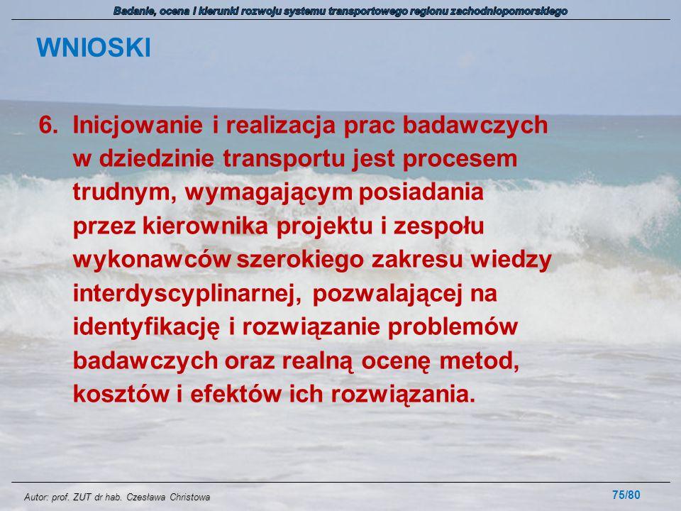 Autor: prof. ZUT dr hab. Czesława Christowa WNIOSKI 6.Inicjowanie i realizacja prac badawczych w dziedzinie transportu jest procesem trudnym, wymagają
