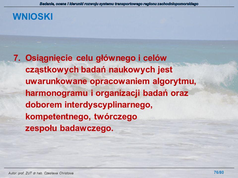 Autor: prof. ZUT dr hab. Czesława Christowa WNIOSKI 7.Osiągnięcie celu głównego i celów cząstkowych badań naukowych jest uwarunkowane opracowaniem alg