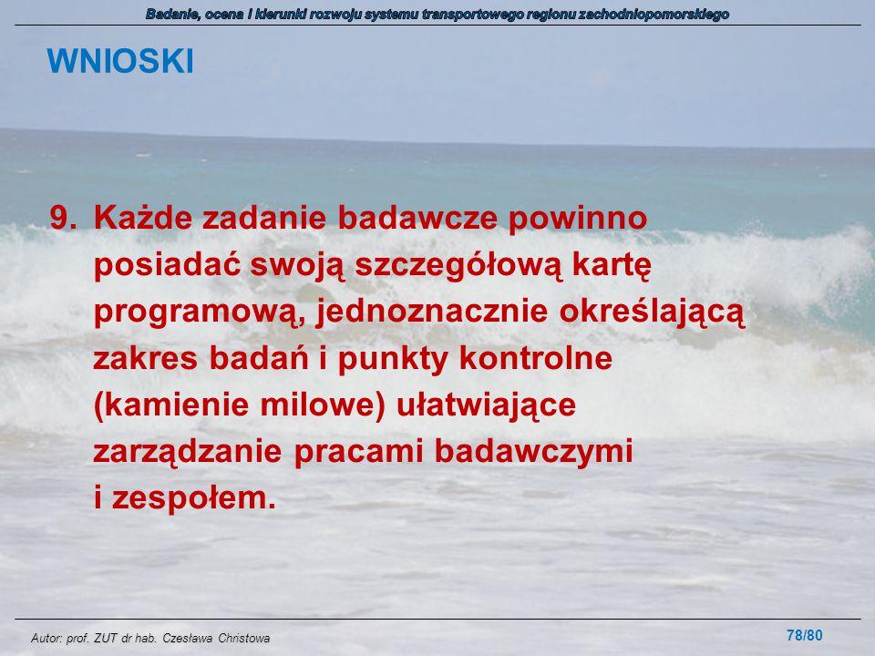 Autor: prof. ZUT dr hab. Czesława Christowa WNIOSKI 9.Każde zadanie badawcze powinno posiadać swoją szczegółową kartę programową, jednoznacznie określ