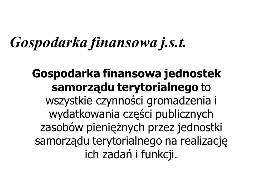 Gospodarka finansowa j.s.t. Gospodarka finansowa jednostek samorządu terytorialnego to wszystkie czynności gromadzenia i wydatkowania części publiczny