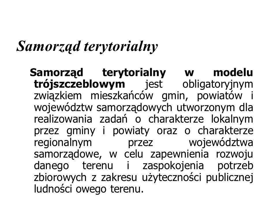 Samorząd terytorialny W modelu trójszczeblowym samorządu terytorialnego gmina jest szczeblem podstawowym, powiat – szczeblem pośrednim (powiat ziemski – PZ i powiat grodzki – PG), a województwo – szczeblem najwyższym.
