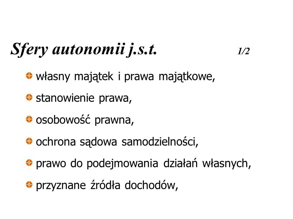 Sfery autonomii j.s.t. 1/2 własny majątek i prawa majątkowe, stanowienie prawa, osobowość prawna, ochrona sądowa samodzielności, prawo do podejmowania