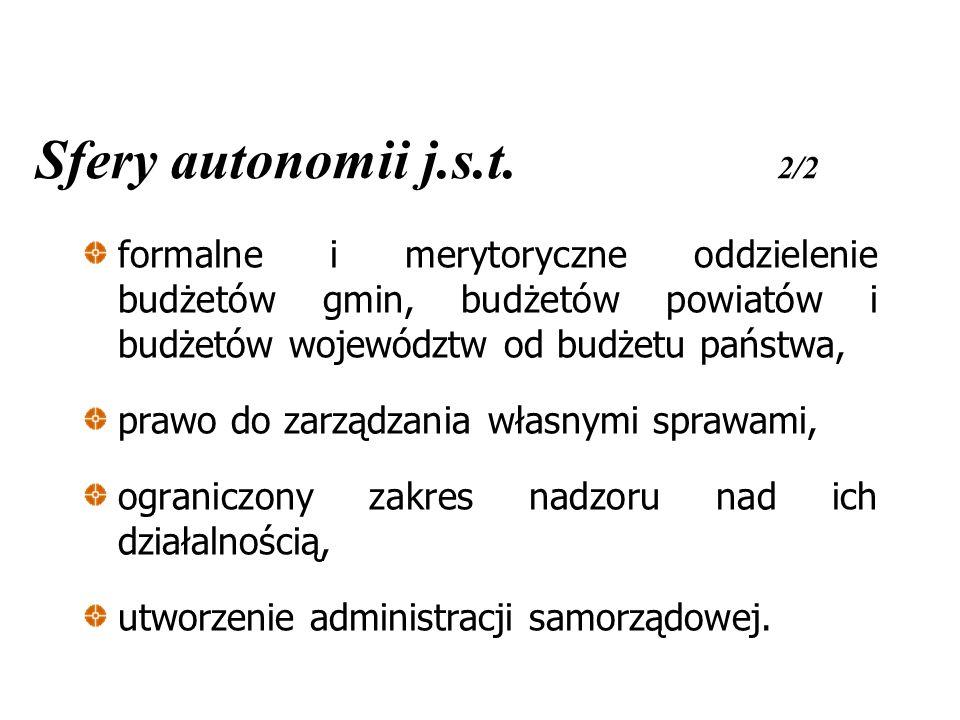 Sfery autonomii j.s.t. 2/2 formalne i merytoryczne oddzielenie budżetów gmin, budżetów powiatów i budżetów województw od budżetu państwa, prawo do zar