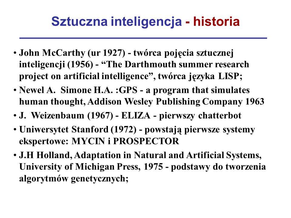 "Sztuczna inteligencja - historia John McCarthy (ur 1927) - twórca pojęcia sztucznej inteligencji (1956) - ""The Darthmouth summer research project on a"