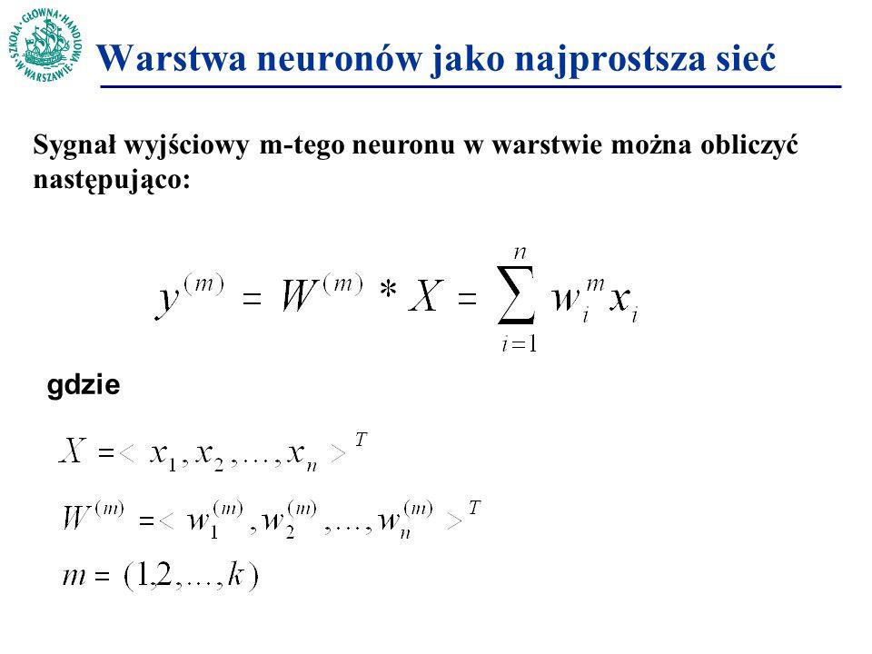 Sygnał wyjściowy m-tego neuronu w warstwie można obliczyć następująco: gdzie