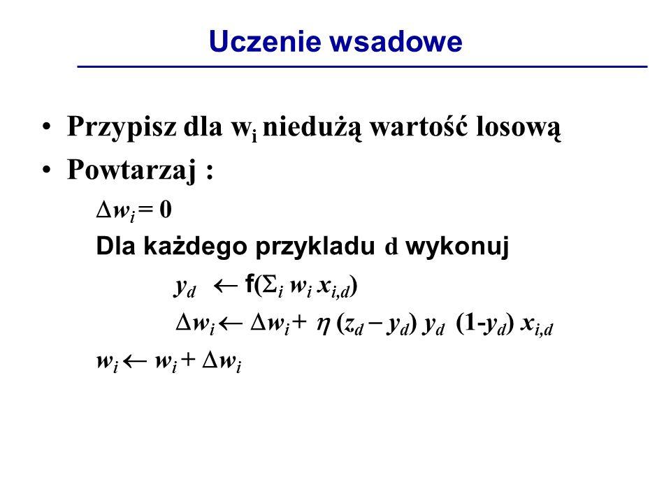 Uczenie wsadowe Przypisz dla w i niedużą wartość losową Powtarzaj :  w i = 0 Dla każdego przykladu d wykonuj y d  f (  i w i x i,d )  w i   w i