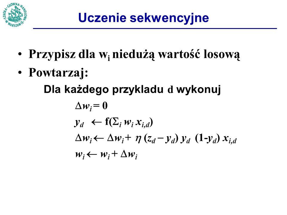 Uczenie sekwencyjne Przypisz dla w i niedużą wartość losową Powtarzaj: Dla każdego przykladu d wykonuj  w i = 0 y d  f(  i w i x i,d )  w i   w