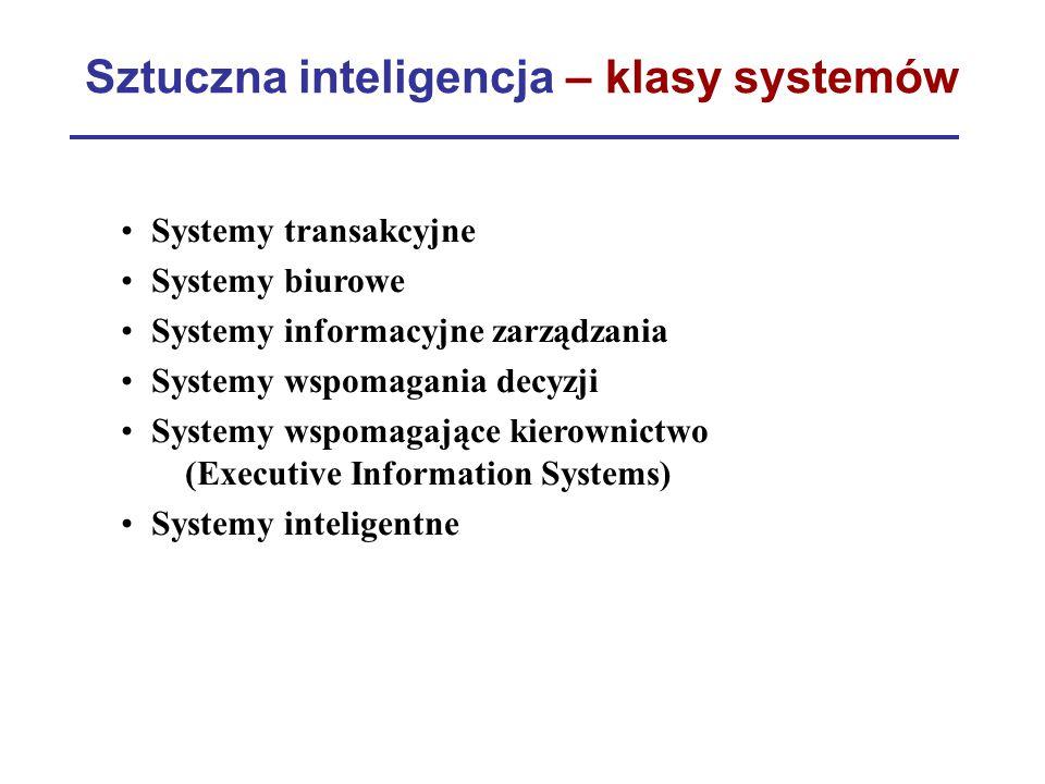 Sztuczna inteligencja – klasy systemów Systemy transakcyjne Systemy biurowe Systemy informacyjne zarządzania Systemy wspomagania decyzji Systemy wspom