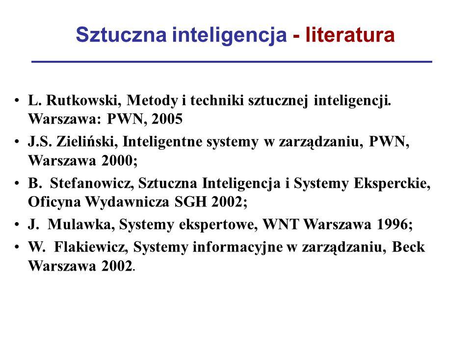 Sztuczna inteligencja - literatura L. Rutkowski, Metody i techniki sztucznej inteligencji. Warszawa: PWN, 2005 J.S. Zieliński, Inteligentne systemy w