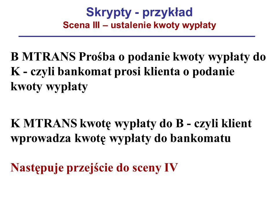 Skrypty - przykład Scena III – ustalenie kwoty wypłaty B MTRANS Prośba o podanie kwoty wypłaty do K - czyli bankomat prosi klienta o podanie kwoty wyp
