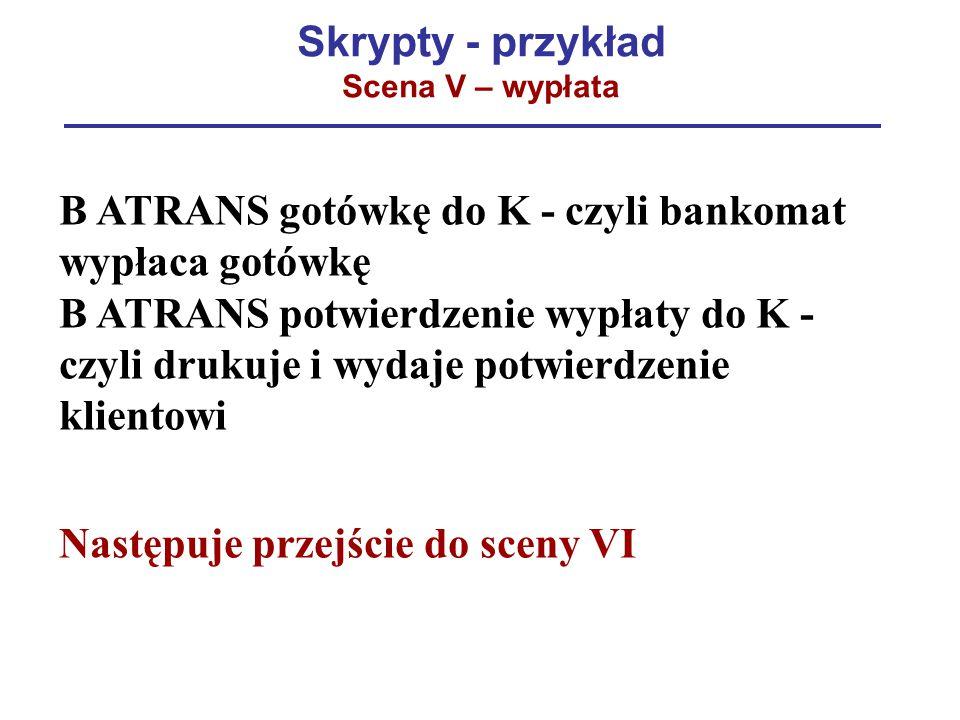 Skrypty - przykład Scena V – wypłata B ATRANS gotówkę do K - czyli bankomat wypłaca gotówkę B ATRANS potwierdzenie wypłaty do K - czyli drukuje i wyda