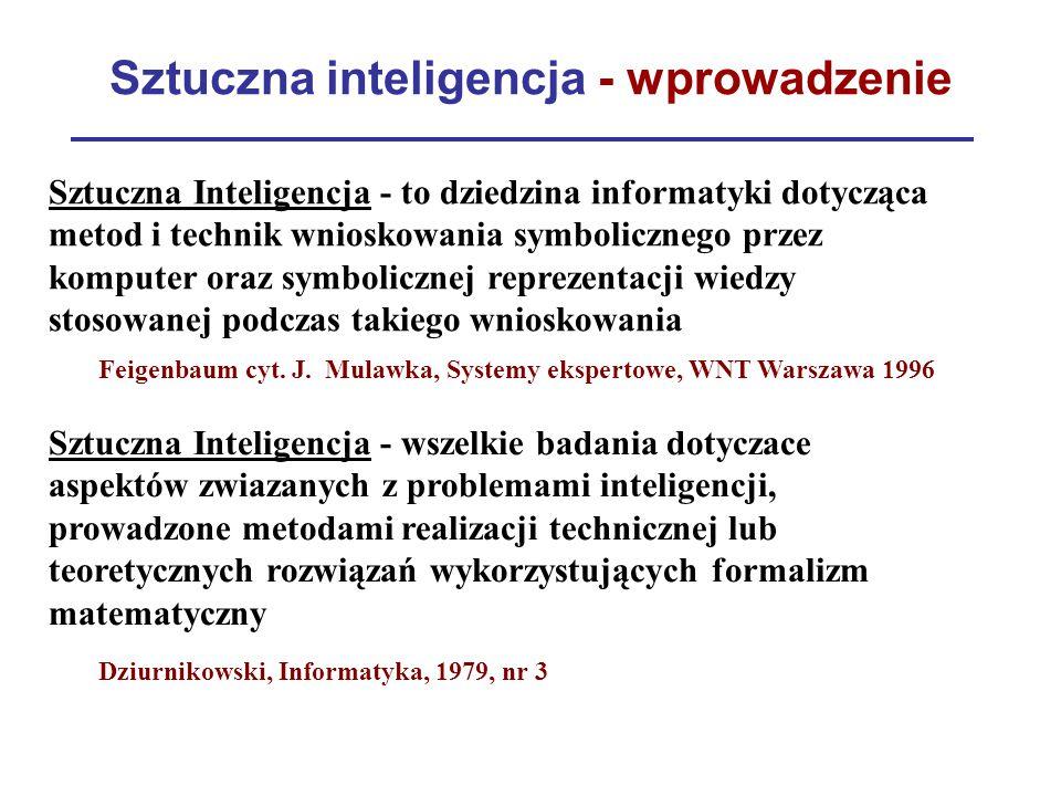 Sztuczna inteligencja - wprowadzenie Sztuczna Inteligencja - to dziedzina informatyki dotycząca metod i technik wnioskowania symbolicznego przez kompu