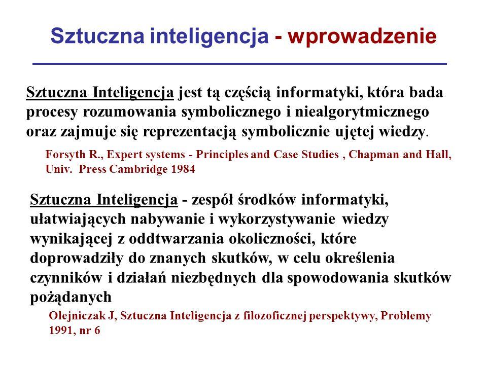 Sztuczna inteligencja - wprowadzenie Forsyth R., Expert systems - Principles and Case Studies, Chapman and Hall, Univ. Press Cambridge 1984 Olejniczak