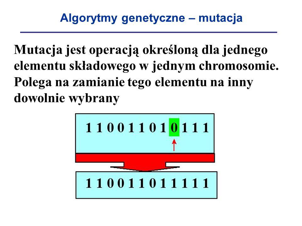Algorytmy genetyczne – mutacja Mutacja jest operacją określoną dla jednego elementu składowego w jednym chromosomie. Polega na zamianie tego elementu