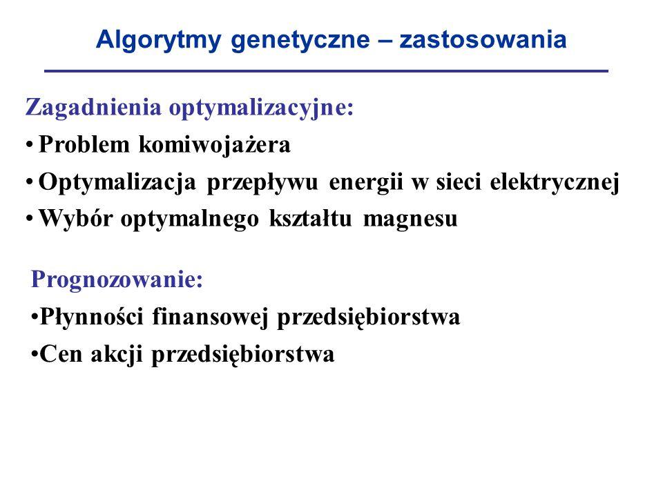 Algorytmy genetyczne – zastosowania Zagadnienia optymalizacyjne: Problem komiwojażera Optymalizacja przepływu energii w sieci elektrycznej Wybór optym