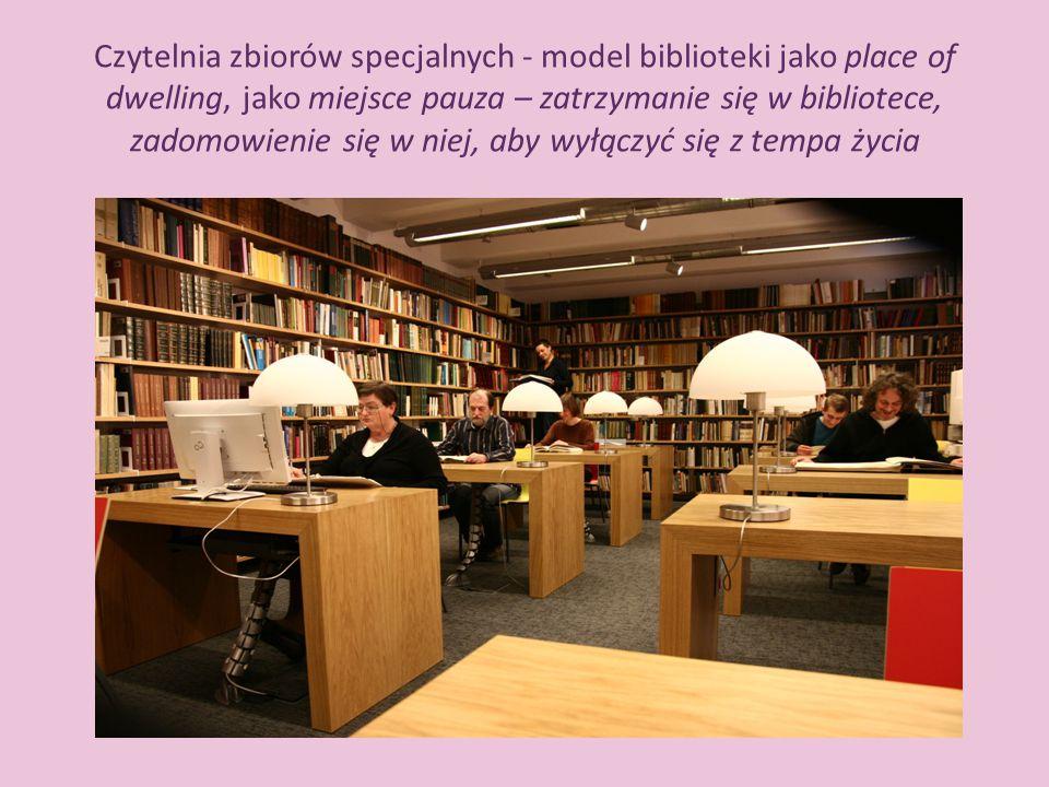 Czytelnia zbiorów specjalnych - model biblioteki jako place of dwelling, jako miejsce pauza – zatrzymanie się w bibliotece, zadomowienie się w niej, a