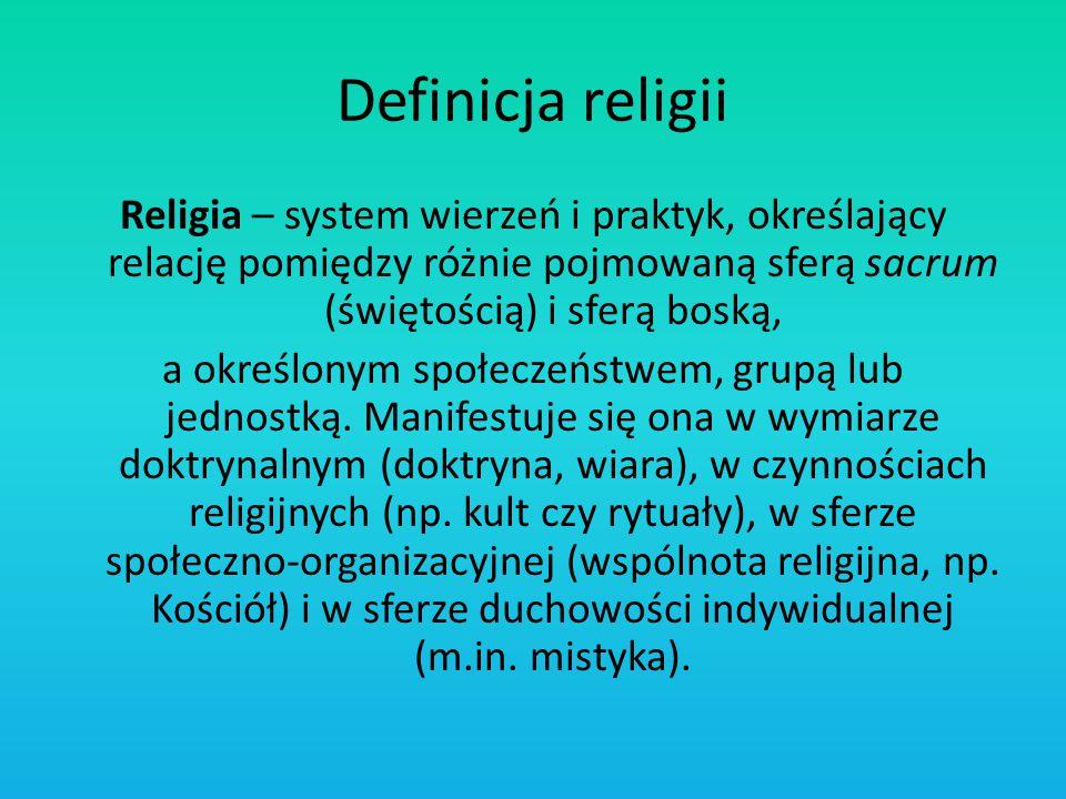 Definicja religii Religia – system wierzeń i praktyk, określający relację pomiędzy różnie pojmowaną sferą sacrum (świętością) i sferą boską, a określo
