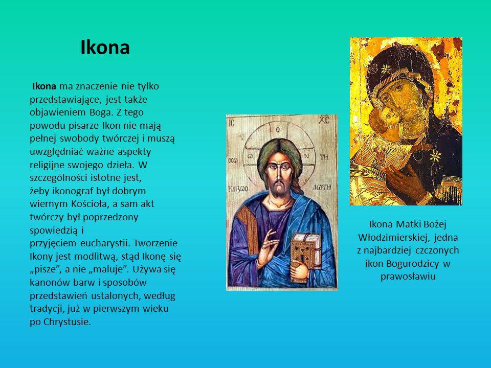 Ikona ma znaczenie nie tylko przedstawiające, jest także objawieniem Boga. Z tego powodu pisarze Ikon nie mają pełnej swobody twórczej i muszą uwzględ