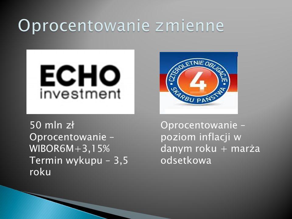 Oprocentowanie – poziom inflacji w danym roku + marża odsetkowa 50 mln zł Oprocentowanie – WIBOR6M+3,15% Termin wykupu – 3,5 roku