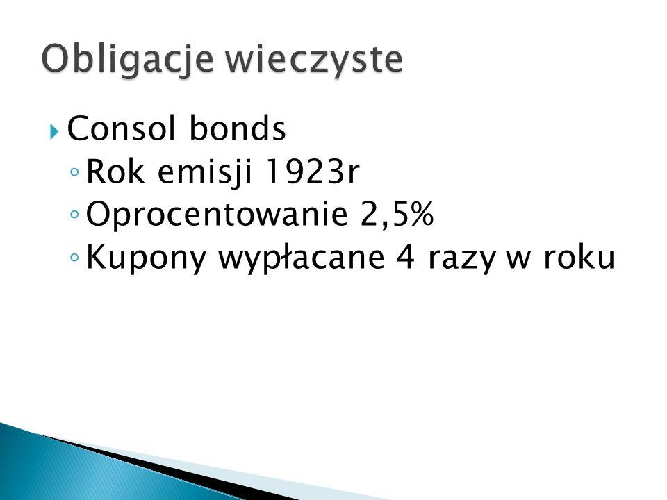  Consol bonds ◦ Rok emisji 1923r ◦ Oprocentowanie 2,5% ◦ Kupony wypłacane 4 razy w roku