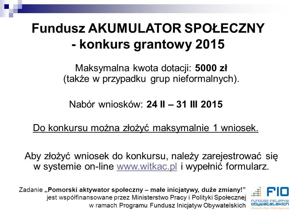 Maksymalna kwota dotacji: 5000 zł (także w przypadku grup nieformalnych).