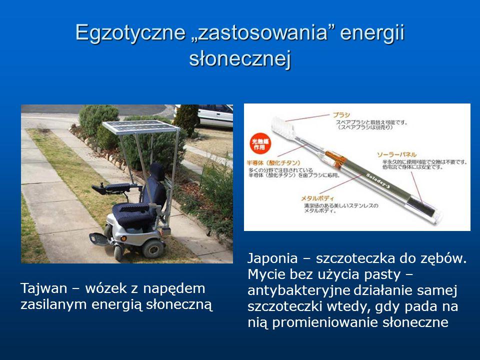"""Egzotyczne """"zastosowania"""" energii słonecznej Tajwan – wózek z napędem zasilanym energią słoneczną Japonia – szczoteczka do zębów. Mycie bez użycia pas"""