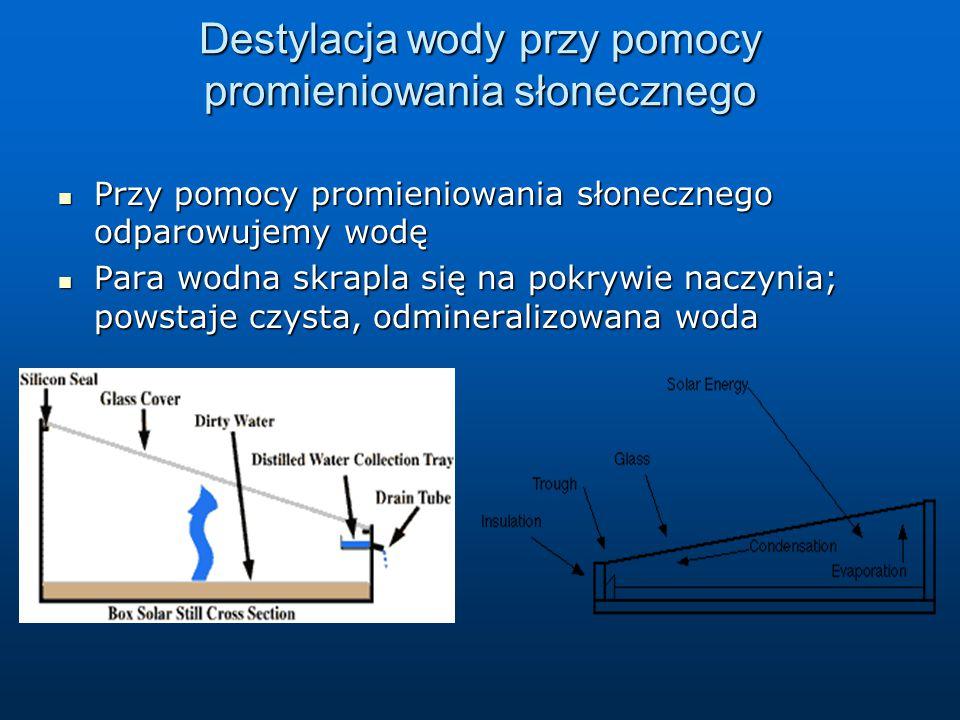 Destylacja wody przy pomocy promieniowania słonecznego Przy pomocy promieniowania słonecznego odparowujemy wodę Przy pomocy promieniowania słonecznego