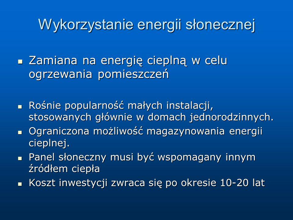 Wykorzystanie energii słonecznej Zamiana na energię cieplną w celu ogrzewania pomieszczeń Zamiana na energię cieplną w celu ogrzewania pomieszczeń Roś