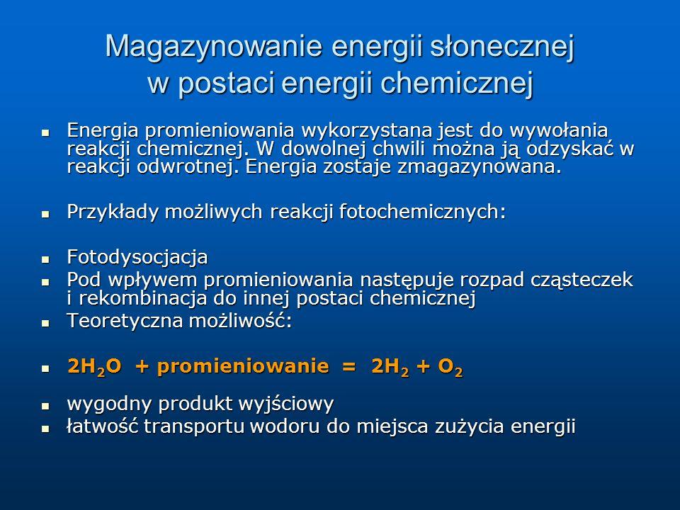 Magazynowanie energii słonecznej w postaci energii chemicznej Energia promieniowania wykorzystana jest do wywołania reakcji chemicznej. W dowolnej chw