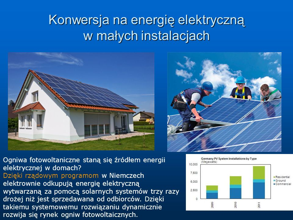 Konwersja na energię elektryczną w małych instalacjach Ogniwa fotowoltaniczne staną się źródłem energii elektrycznej w domach? Dzięki rządowym program