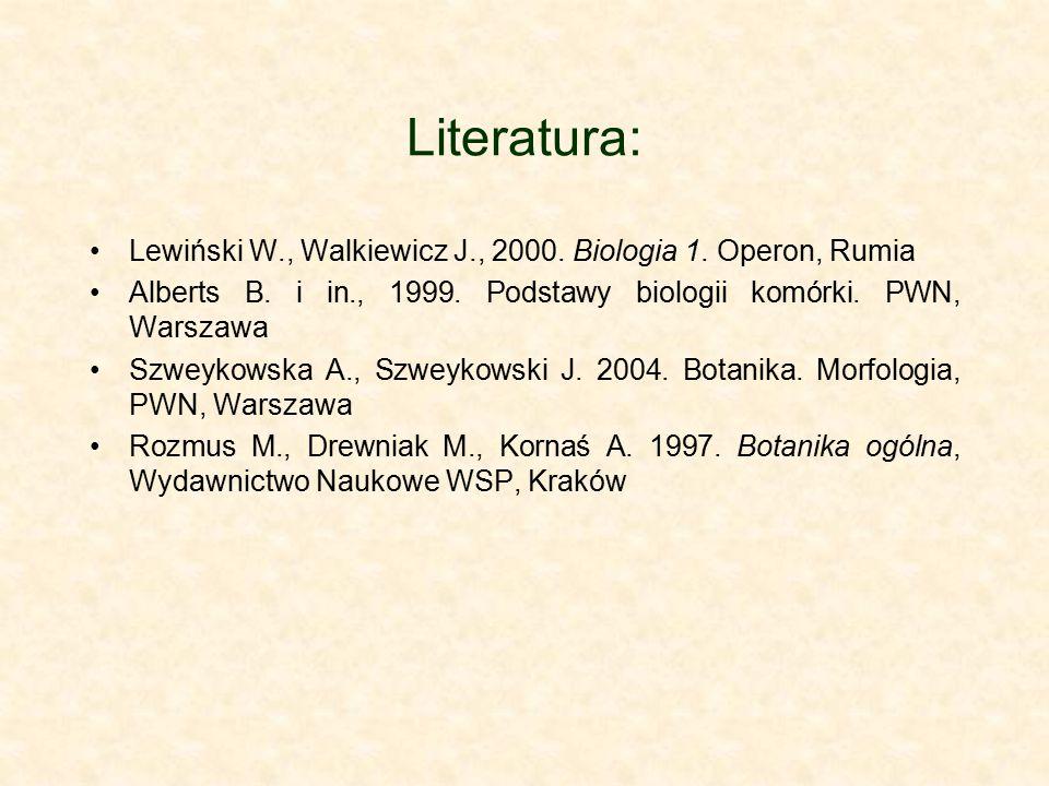 Literatura: Lewiński W., Walkiewicz J., 2000. Biologia 1. Operon, Rumia Alberts B. i in., 1999. Podstawy biologii komórki. PWN, Warszawa Szweykowska A