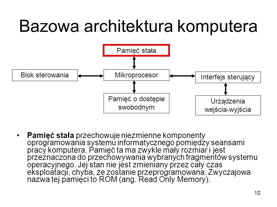 10 Bazowa architektura komputera Pamięć stała przechowuje niezmienne komponenty oprogramowania systemu informatycznego pomiędzy seansami pracy kompute