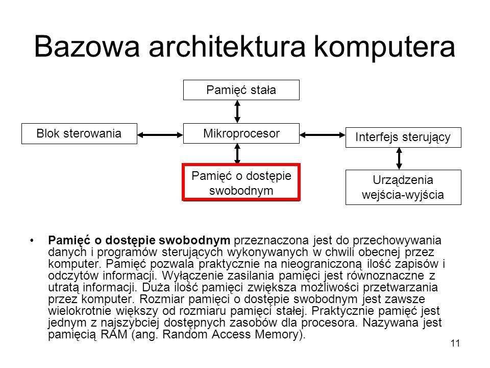 11 Bazowa architektura komputera Pamięć o dostępie swobodnym przeznaczona jest do przechowywania danych i programów sterujących wykonywanych w chwili