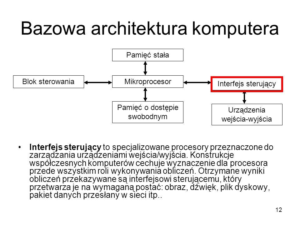 12 Bazowa architektura komputera Interfejs sterujący to specjalizowane procesory przeznaczone do zarządzania urządzeniami wejścia/wyjścia. Konstrukcje