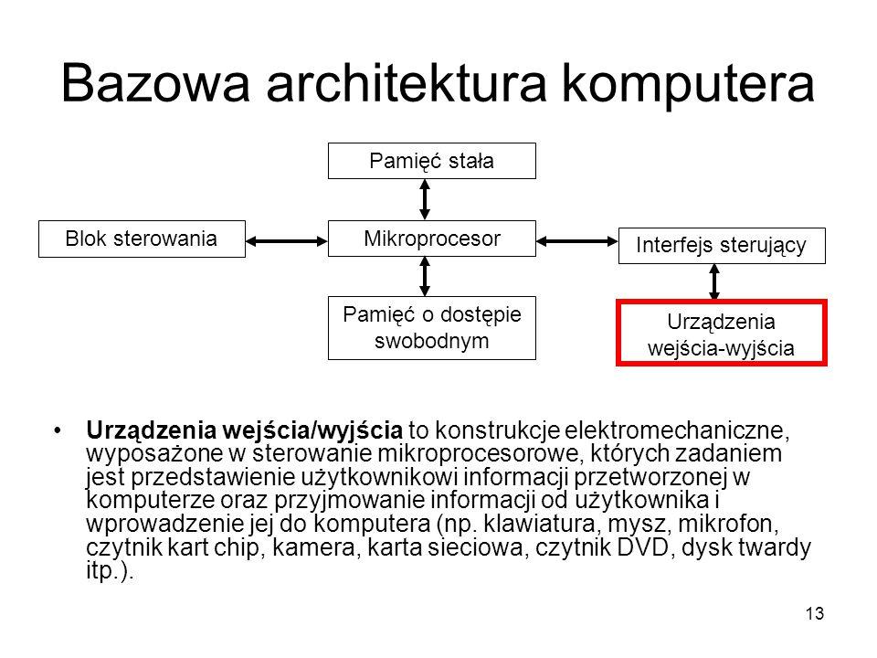 13 Bazowa architektura komputera Urządzenia wejścia/wyjścia to konstrukcje elektromechaniczne, wyposażone w sterowanie mikroprocesorowe, których zadan
