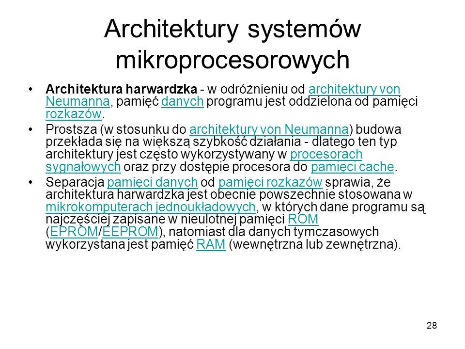 28 Architektury systemów mikroprocesorowych Architektura harwardzka - w odróżnieniu od architektury von Neumanna, pamięć danych programu jest oddzielo